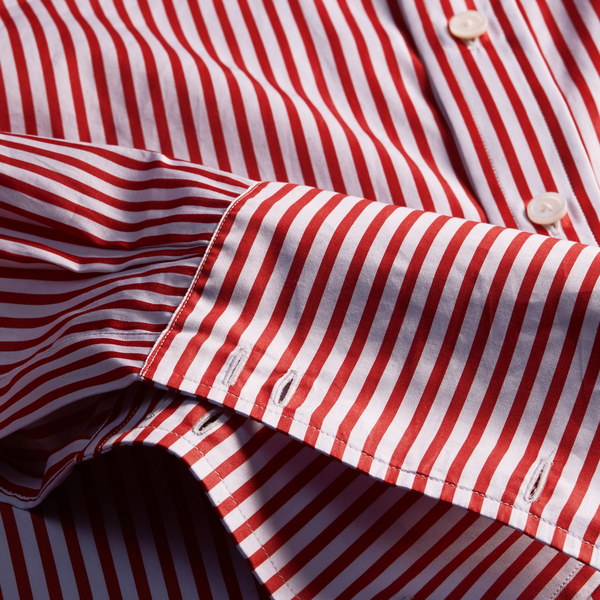 Cardinal red Striped Double-cuff Cotton Shirt - gallery image 2