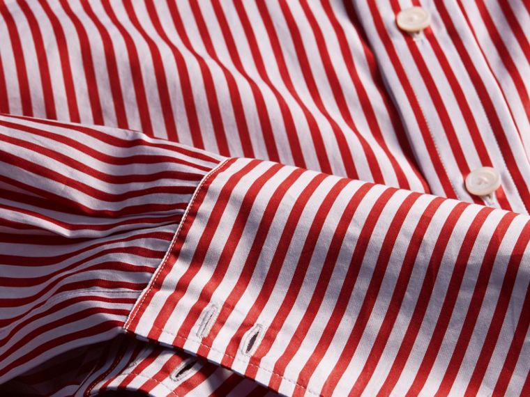 Cardinal red Striped Double-cuff Cotton Shirt - cell image 1
