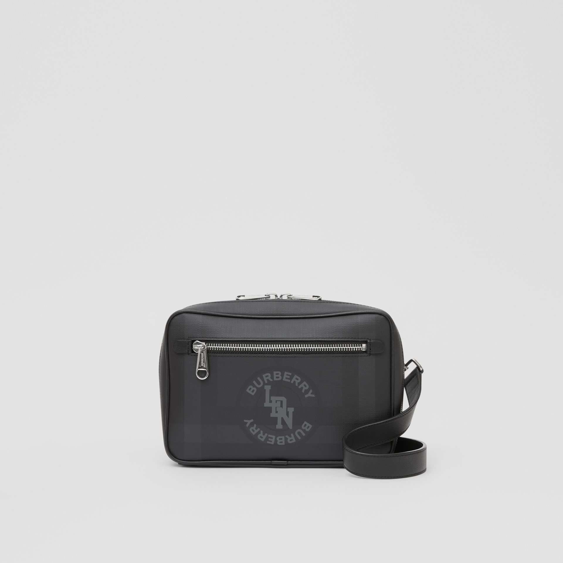 Logo Graphic London Check Crossbody Bag in Dark Charcoal - Men | Burberry - gallery image 0