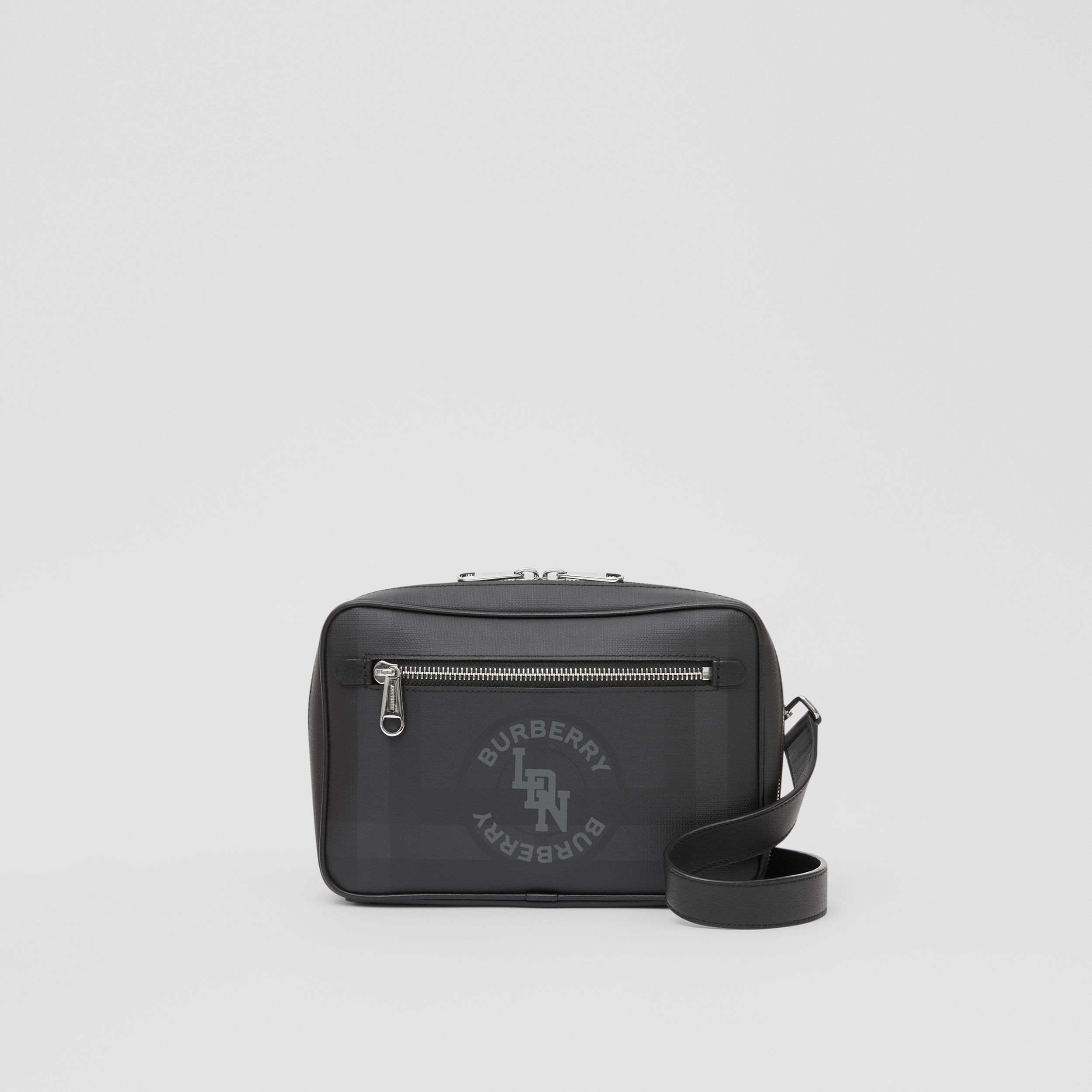 Logo Graphic London Check Crossbody Bag in Dark Charcoal - Men | Burberry - 1