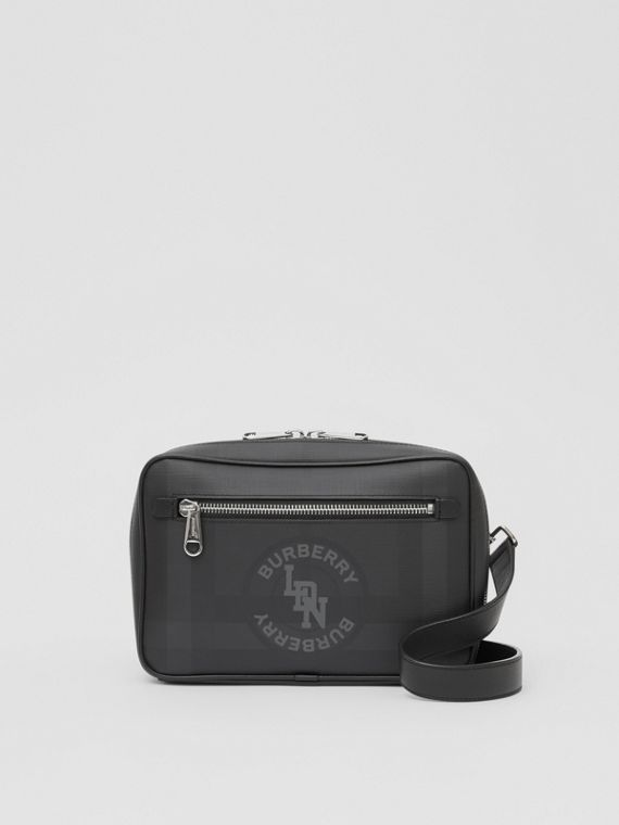 Logo Graphic London Check Crossbody Bag in Dark Charcoal