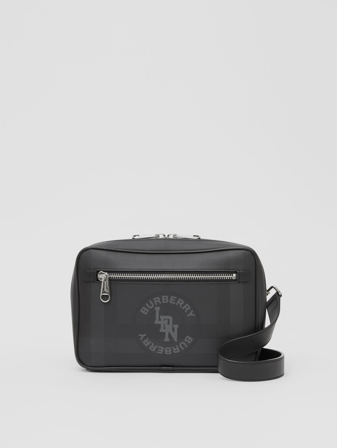 Logo Graphic London Check Crossbody Bag (Dark Charcoal)