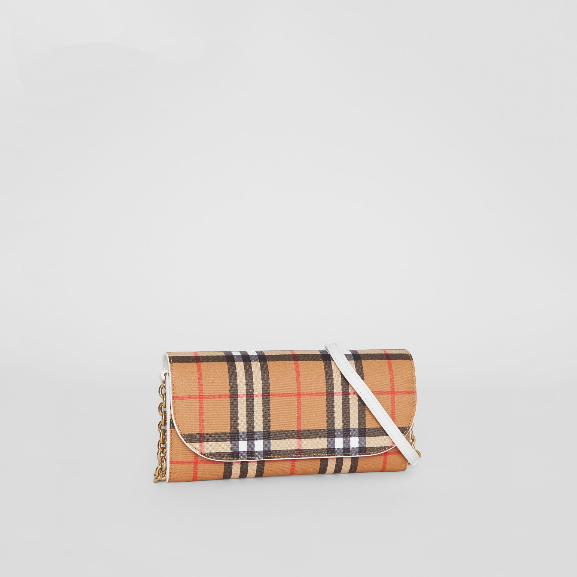 Vintage Check and Leather Wallet with Chain in Chalk White - Women | Burberry - gallery image 6
