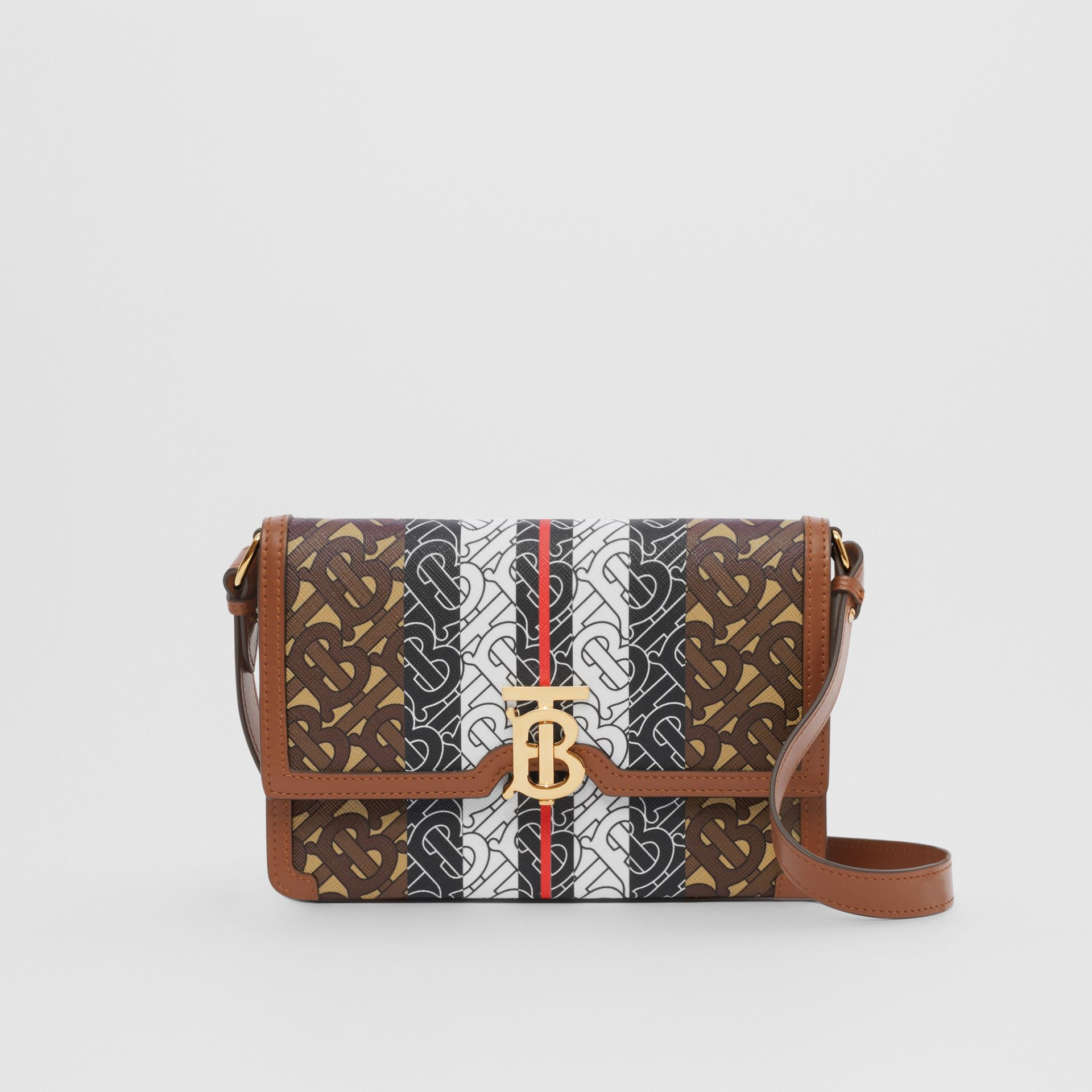 Small Monogram Stripe E-canvas Crossbody Bag in Bridle Brown - Women | Burberry United States - gallery image 0