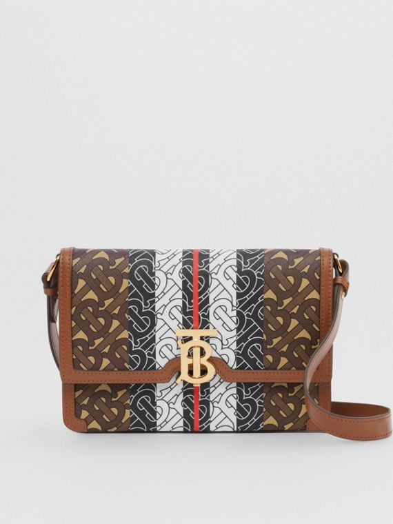 Small Monogram Stripe E-canvas Crossbody Bag in Bridle Brown