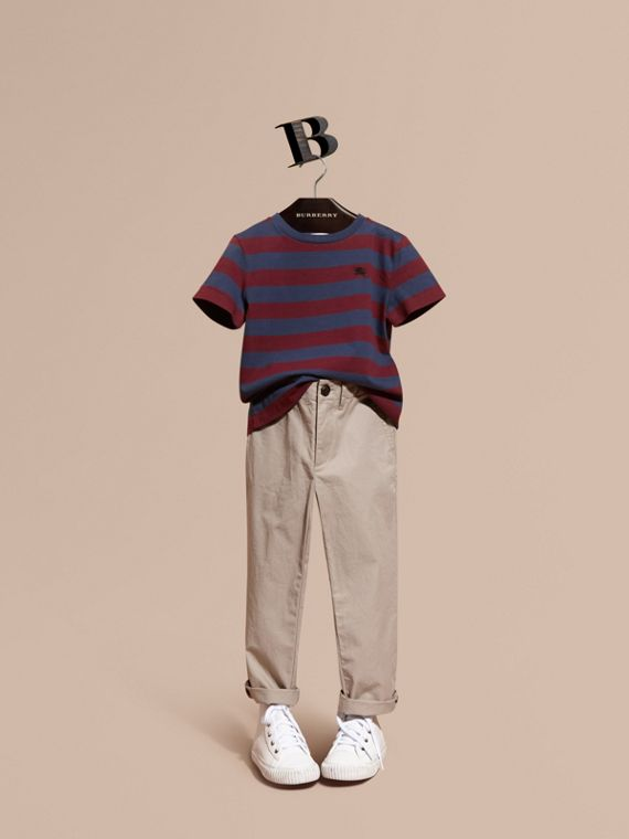 Striped Cotton T-Shirt Burgundy Red