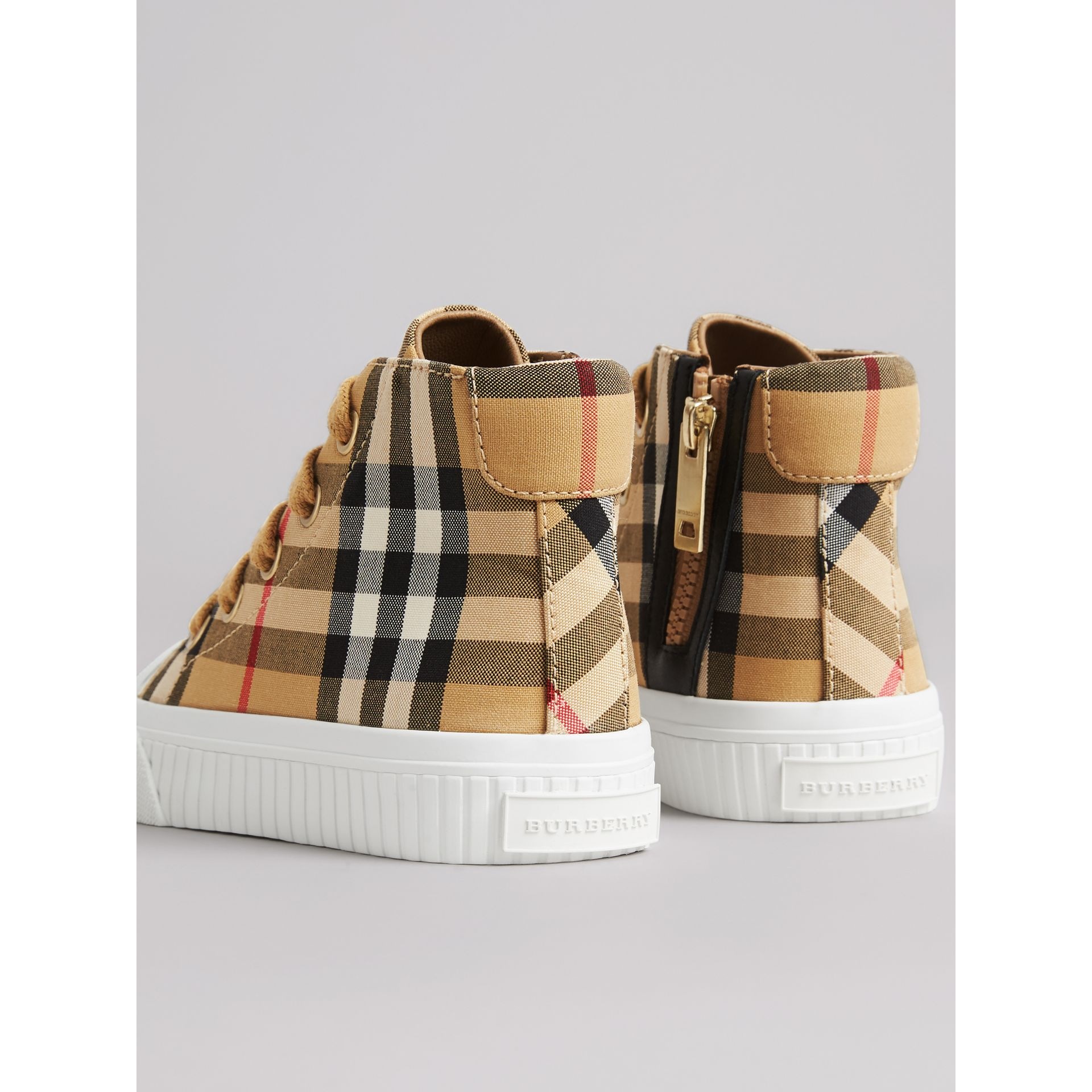 Vintage Check and Leather High-top Sneakers in Antique Yellow/optic White - Children | Burberry Canada - gallery image 2