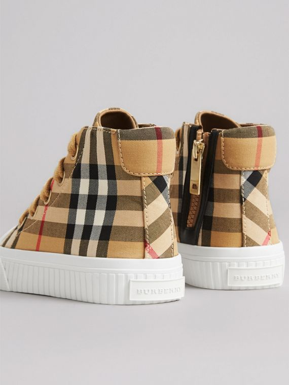 Vintage Check and Leather High-top Sneakers in Antique Yellow/optic White | Burberry - cell image 2