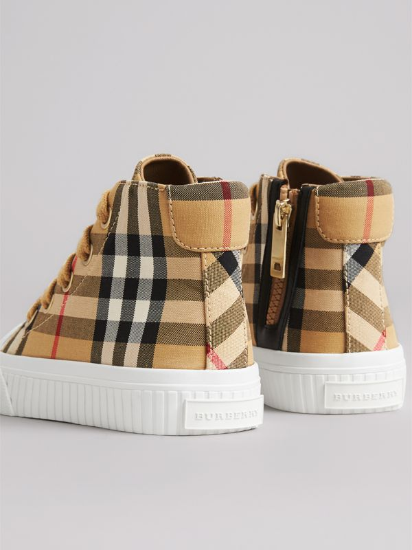Vintage Check and Leather High-top Sneakers in Antique Yellow/optic White - Children | Burberry Canada - cell image 2