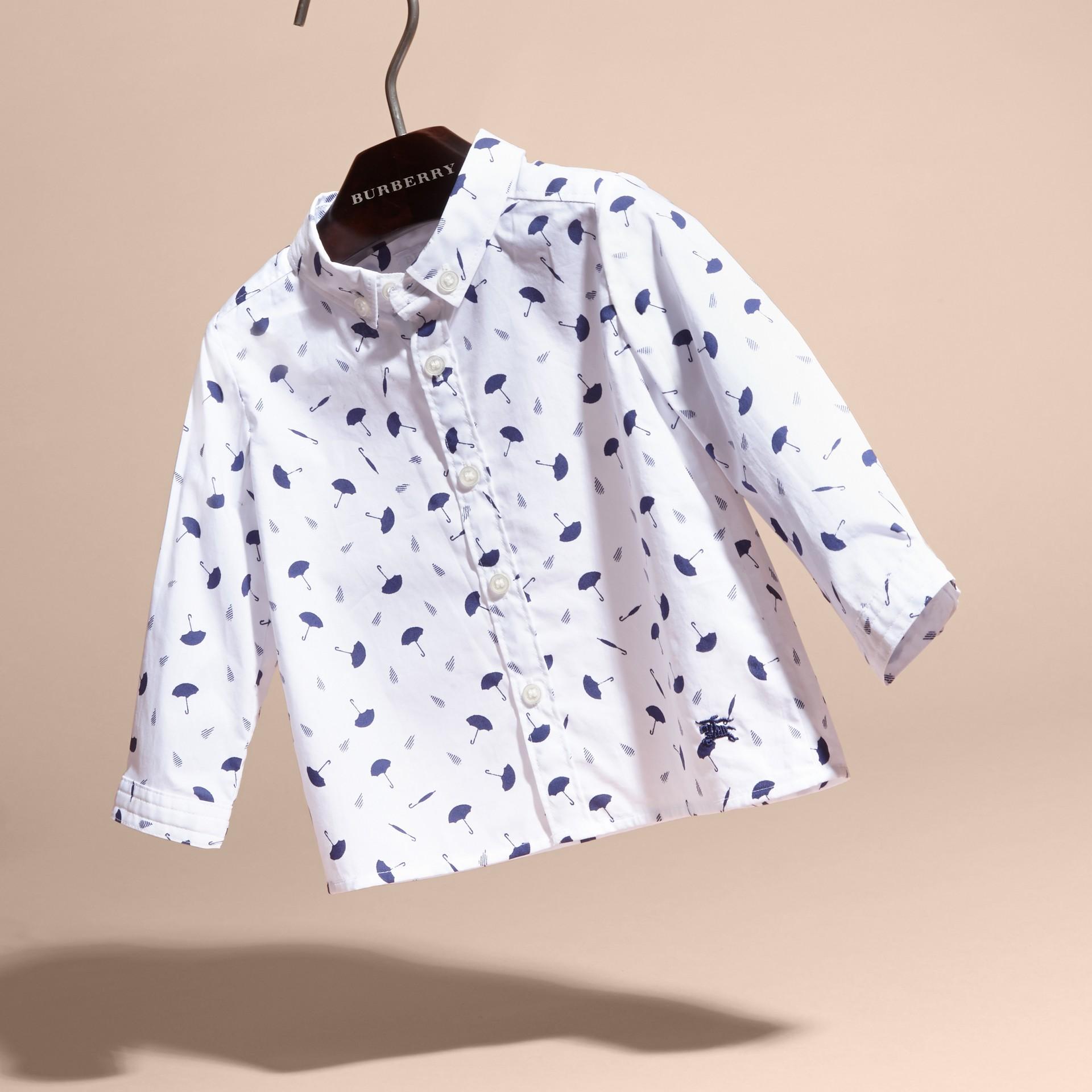 Button-down Collar Umbrella Motif Cotton Shirt - gallery image 3