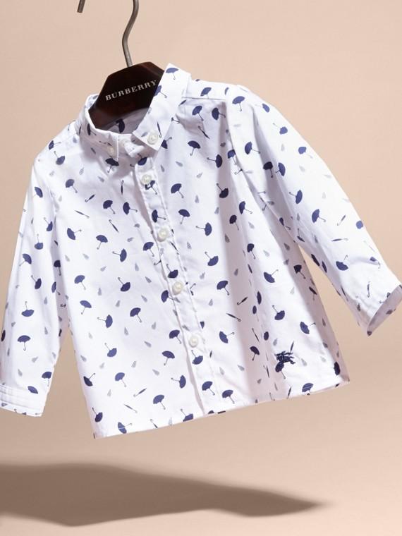 Button-down Collar Umbrella Motif Cotton Shirt - cell image 2