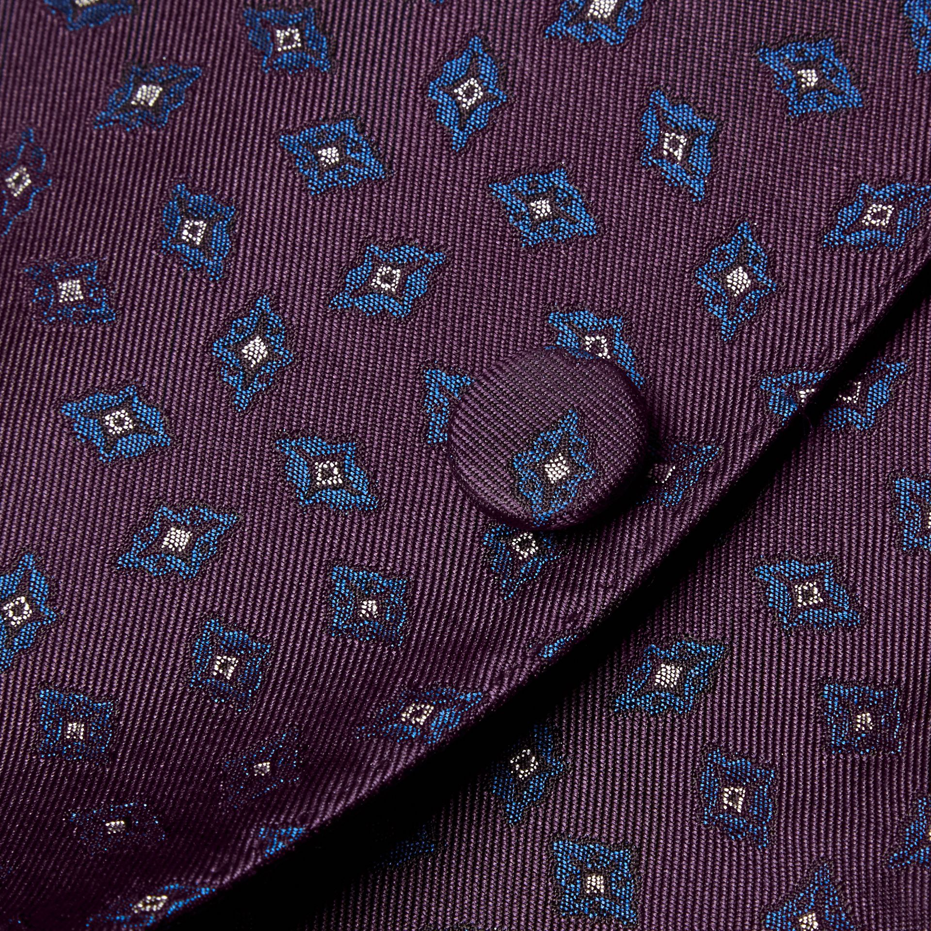 Deep aubergine Slim Fit Geometric Silk Jacquard Tailored Jacket - gallery image 2
