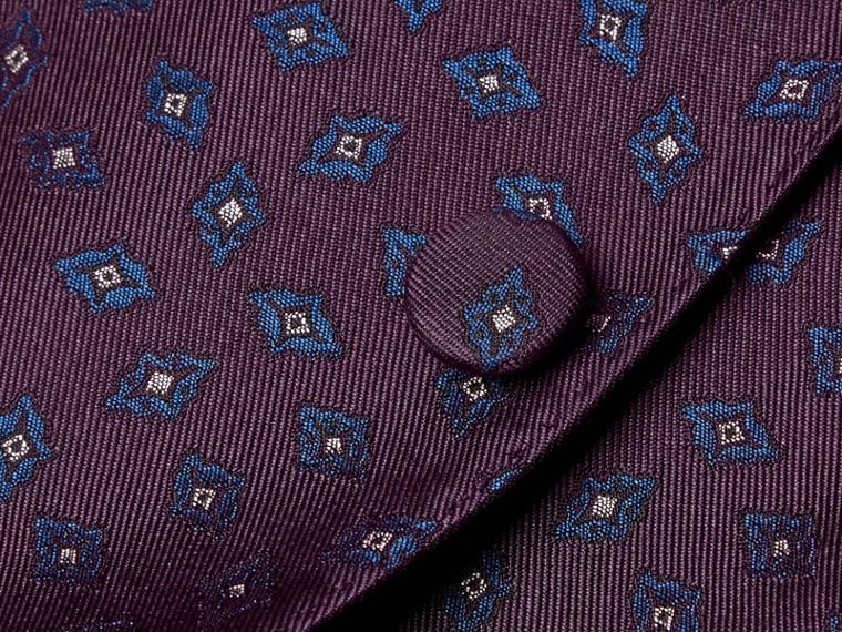Berenjena oscuro Chaqueta de vestir entallada en jacquard de seda con motivo geométrico - cell image 1