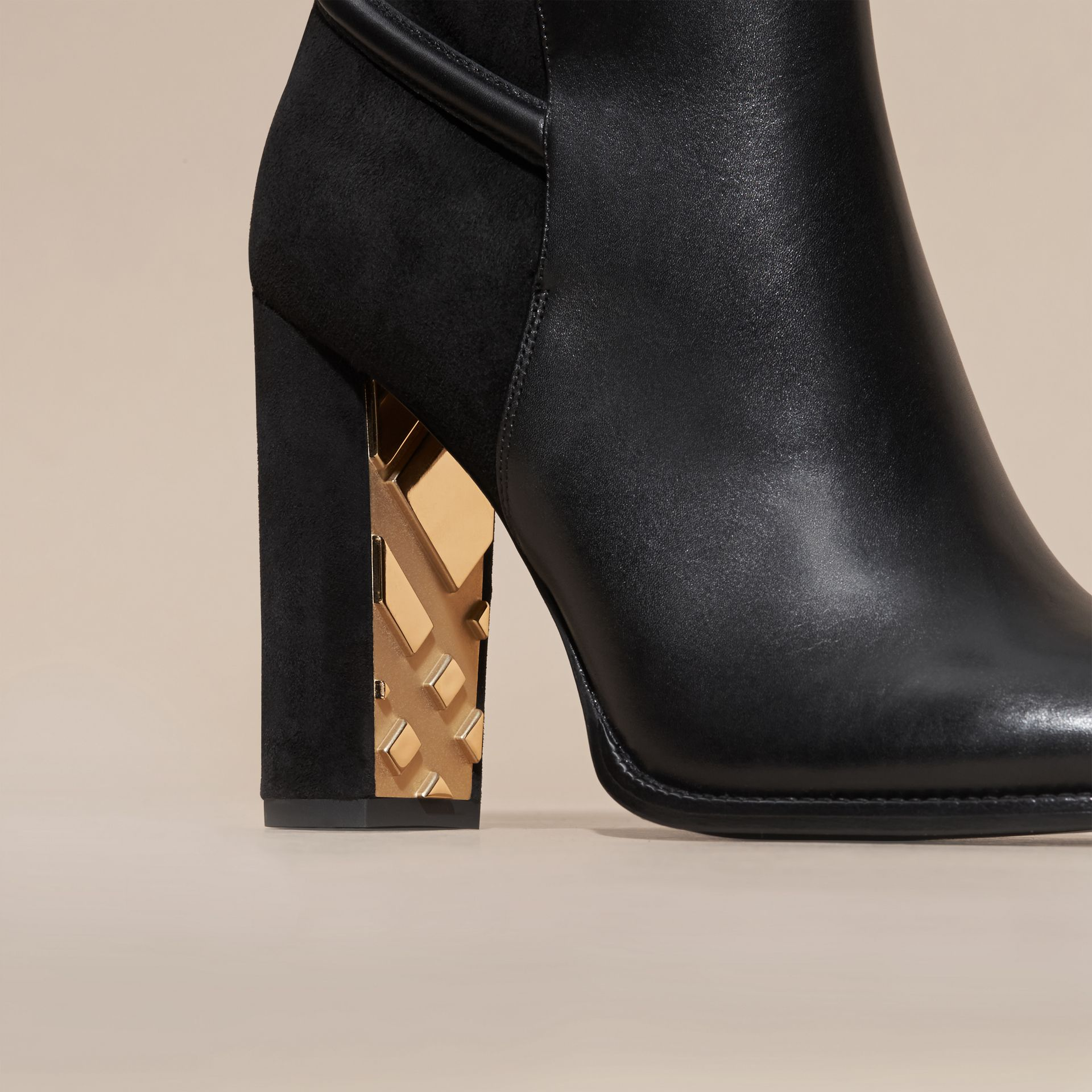Black Strap Detail Leather and Suede Ankle Boots Black - gallery image 2