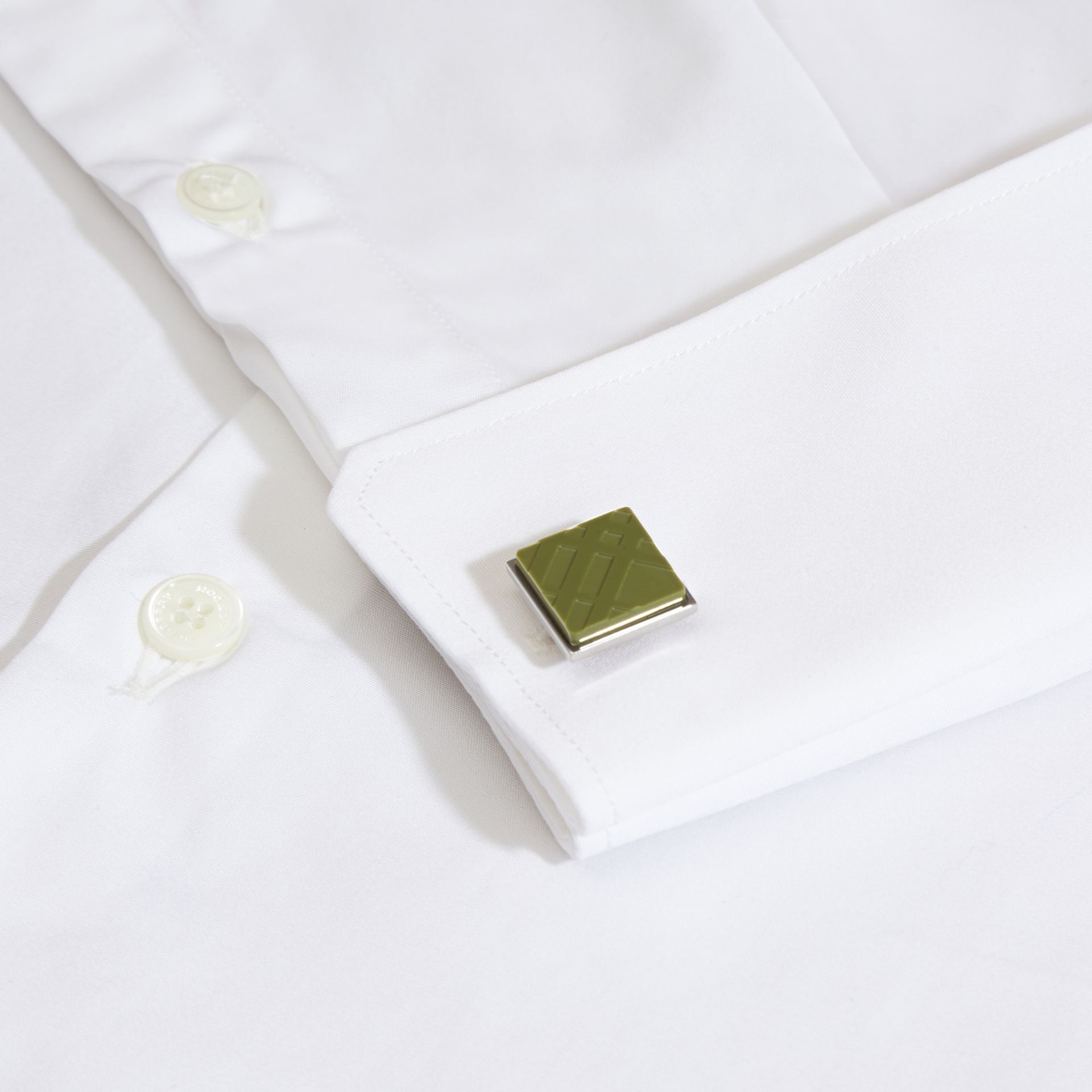 Check-engraved Square Cufflinks in Antique Green - gallery image 2