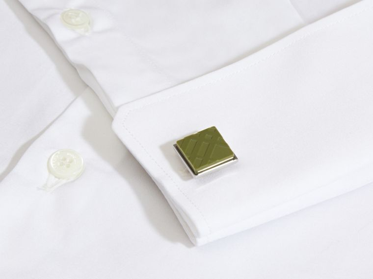 Check-engraved Square Cufflinks in Antique Green - cell image 1