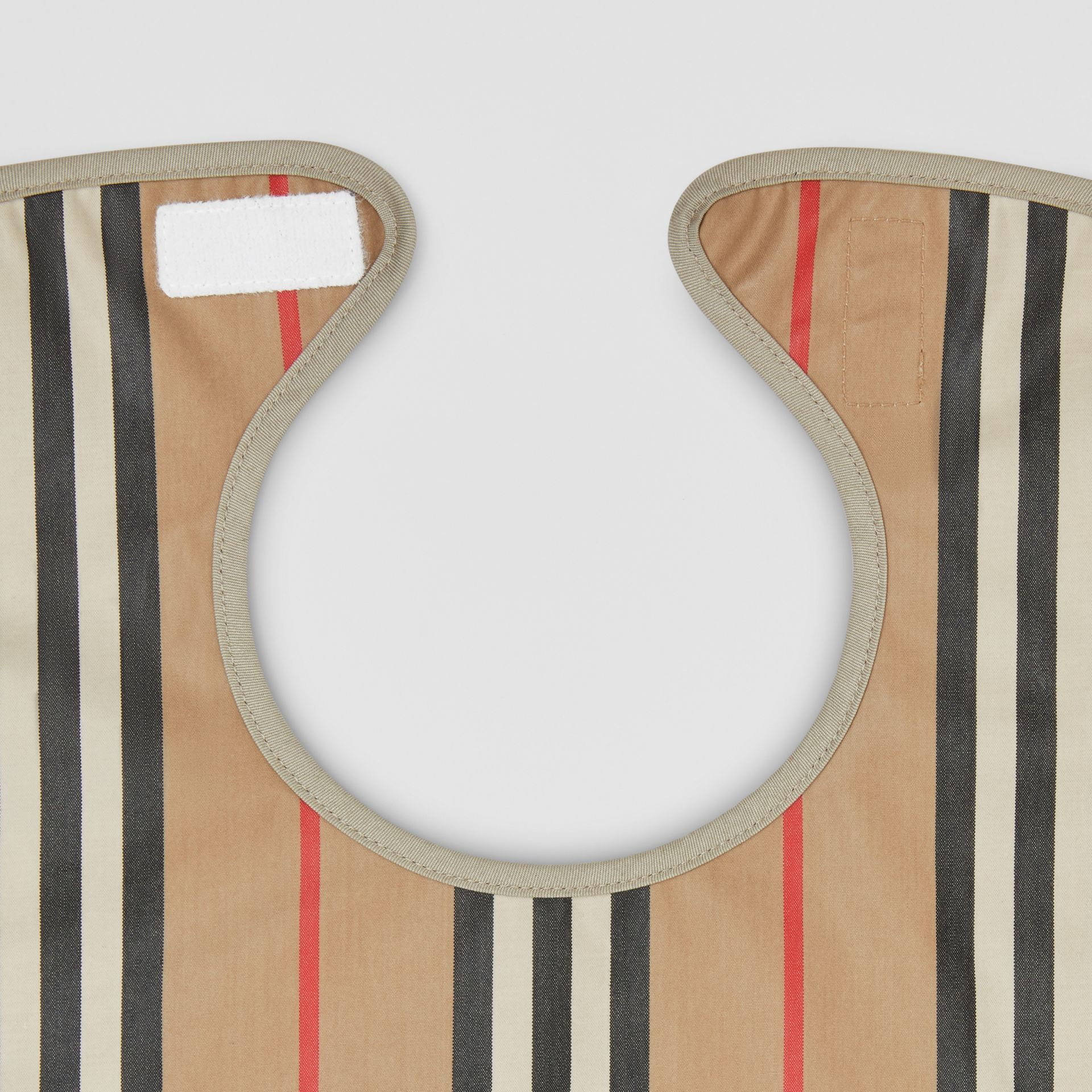 Coated Icon Stripe Cotton Baby Bib in Archive Beige - Children | Burberry United Kingdom - gallery image 3