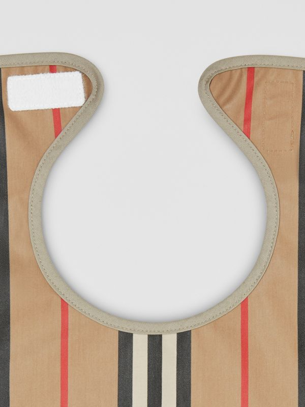 Coated Icon Stripe Cotton Baby Bib in Archive Beige - Children | Burberry United Kingdom - cell image 3