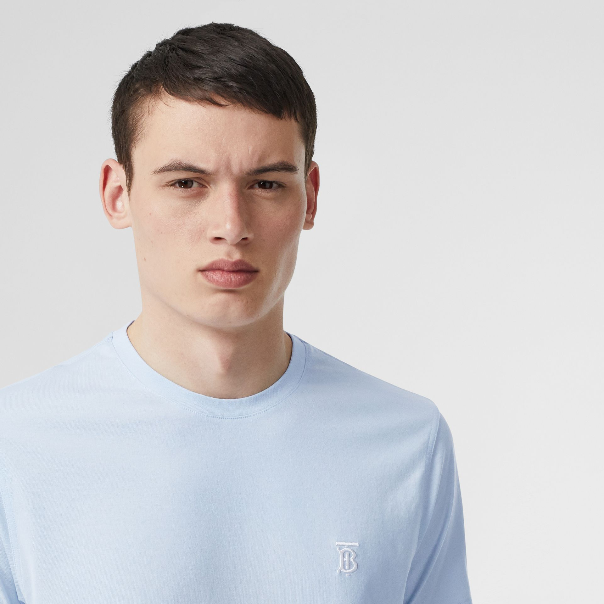 Monogram Motif Cotton T-shirt in Pale Blue - Men | Burberry - gallery image 1