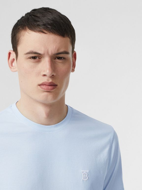 Monogram Motif Cotton T-shirt in Pale Blue - Men | Burberry United Kingdom - cell image 1