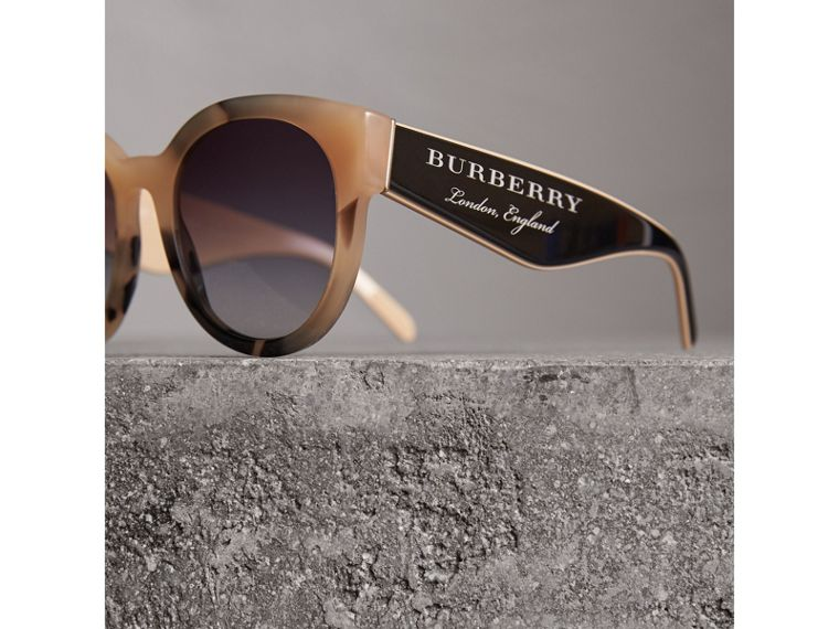 Round Frame Sunglasses in Honey - Women | Burberry Singapore - cell image 1