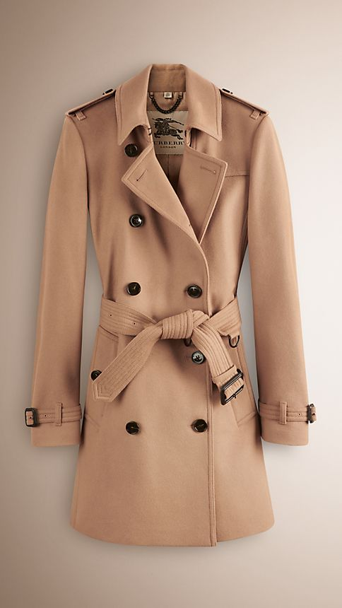 Camel Wool Cashmere Trench Coat - Image 1