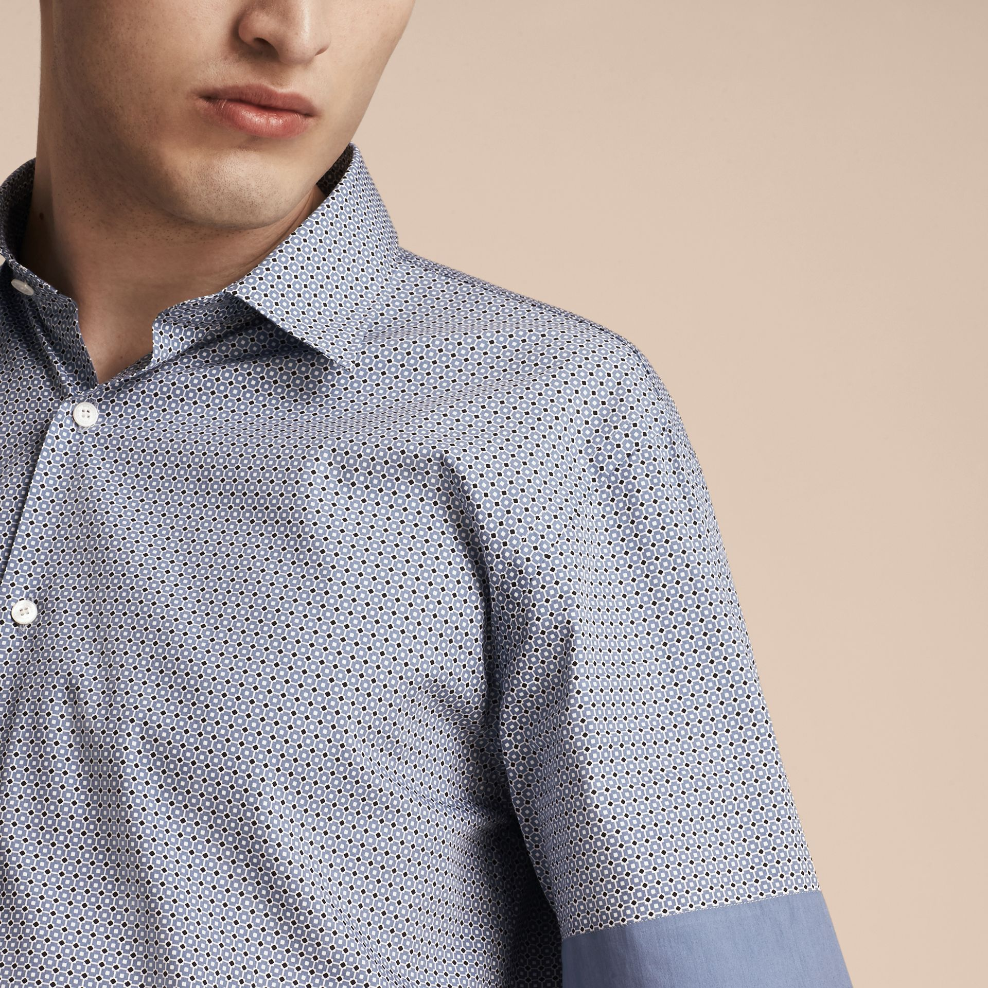 Hydrangea blue Short-sleeved Printed Cotton Silk Shirt - gallery image 5