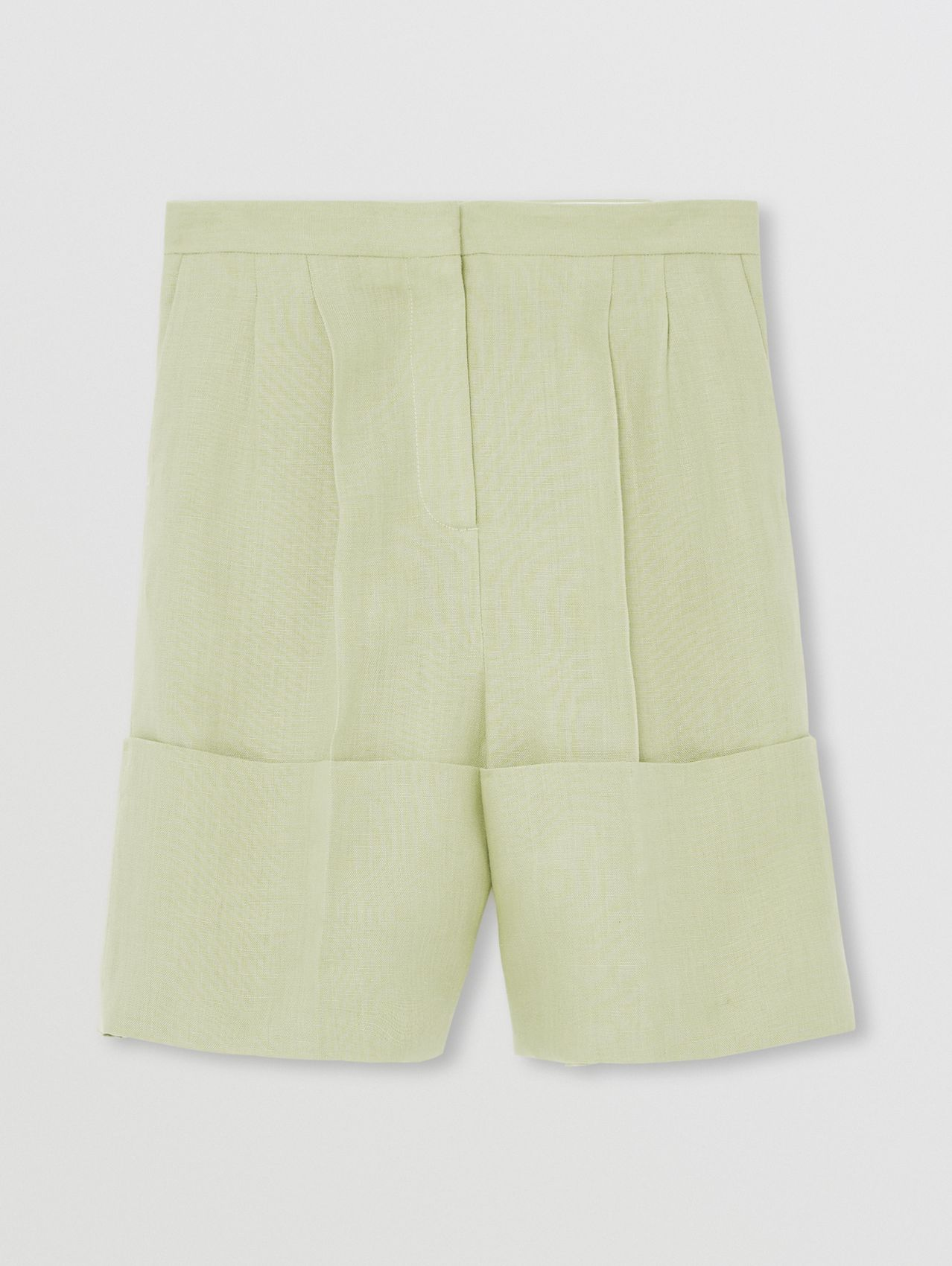 Cuff Detail Linen Tailored Shorts in Mist Green