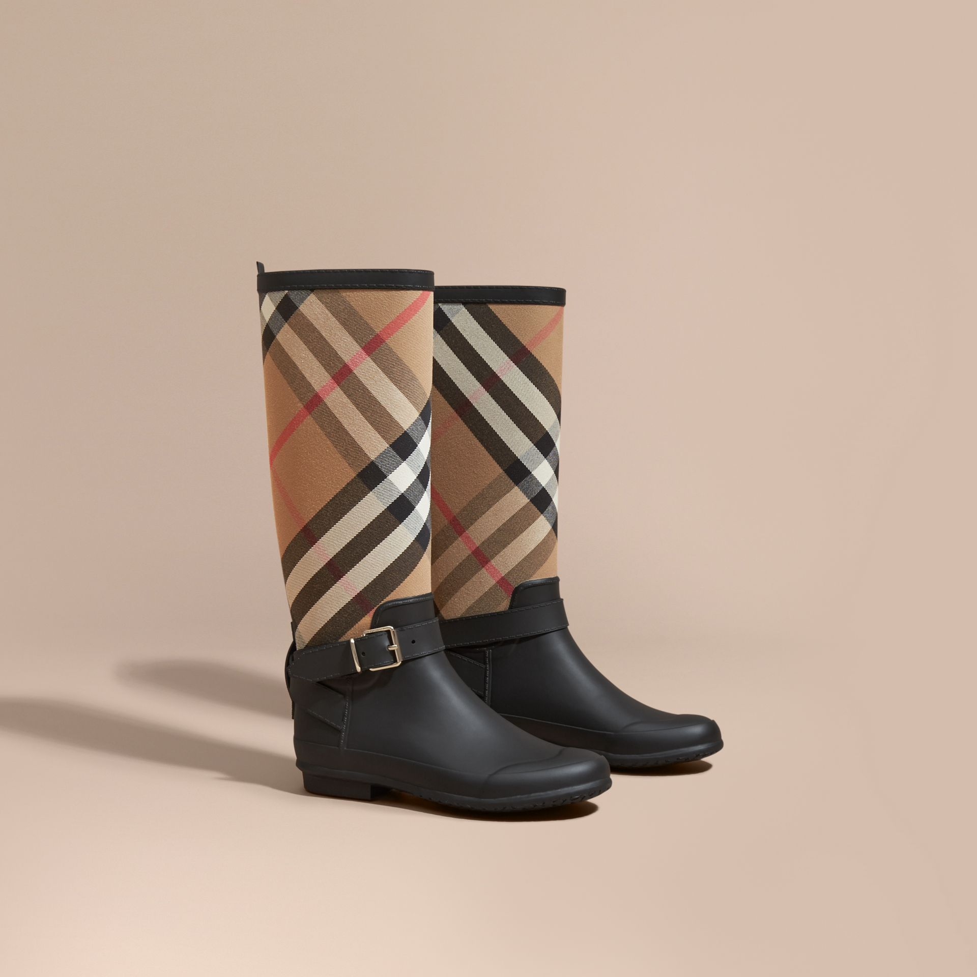 Belt Detail Check and Rubber Rain Boots - Women | Burberry - gallery image 1