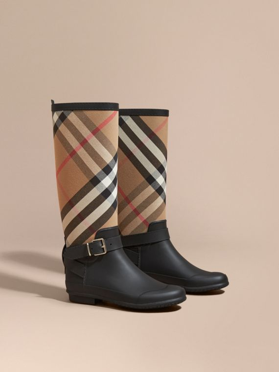 Belt Detail Check and Rubber Rain Boots - Women | Burberry