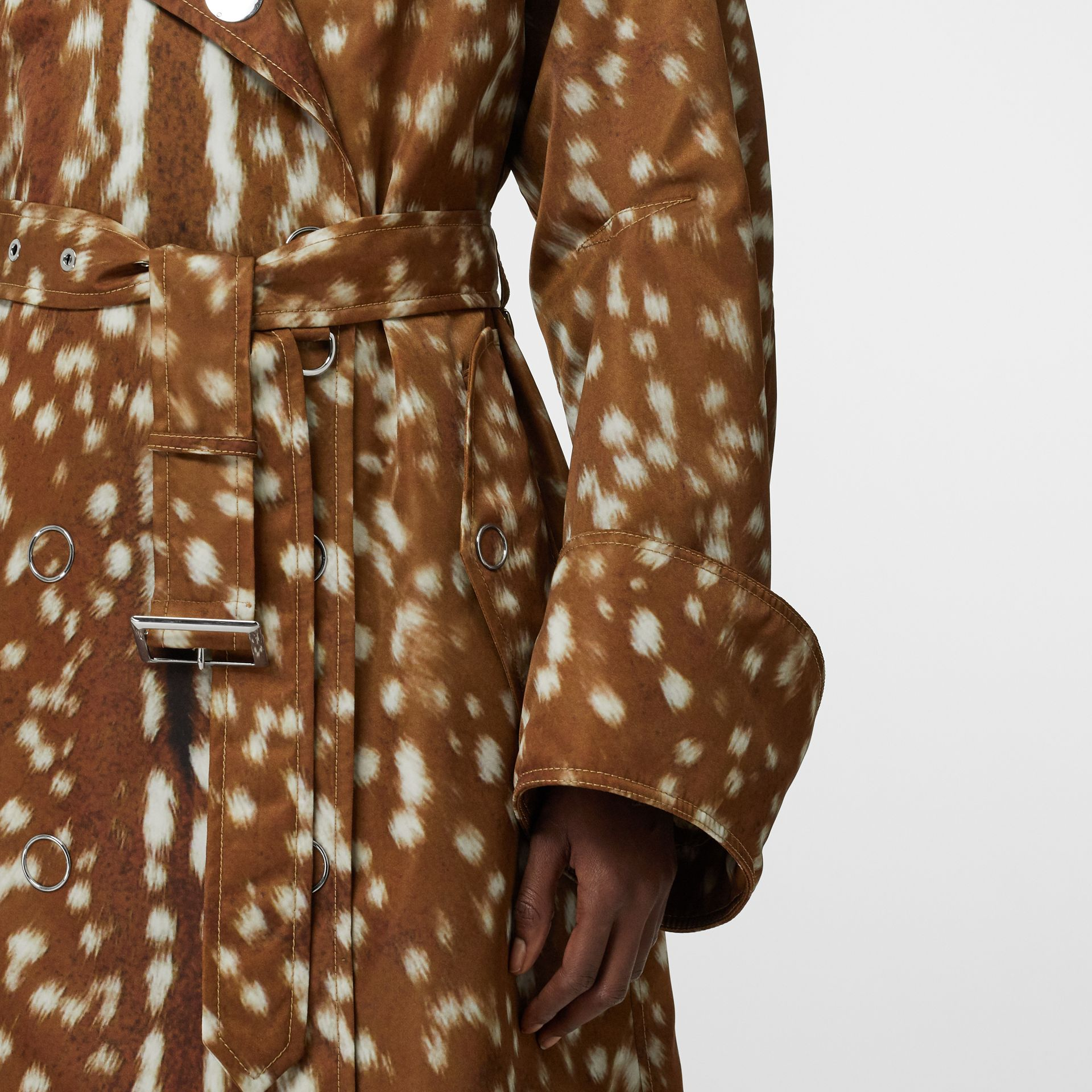 Exaggerated Cuff Deer Print Nylon Trench Coat in Honey - Women | Burberry Canada - gallery image 6