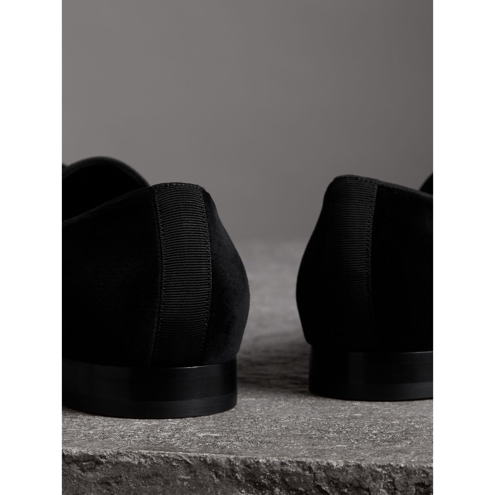 Tassel Detail Velvet Loafers in Black - Men | Burberry - gallery image 3