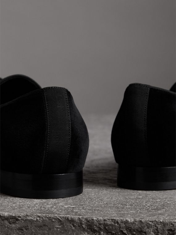 Tassel Detail Velvet Loafers in Black - Men | Burberry - cell image 3