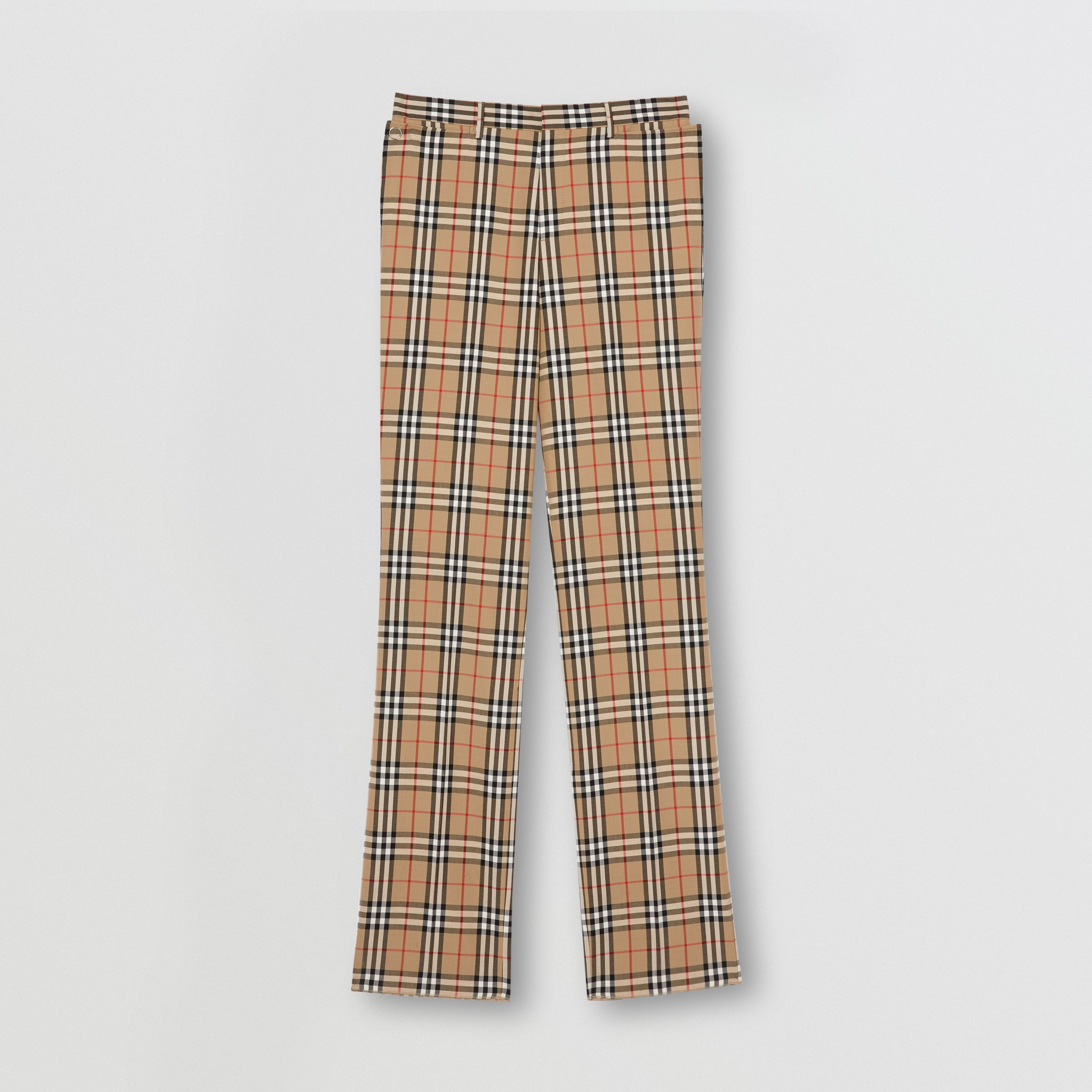 Vintage Check Wool Mohair Tailored Trousers in Archive Beige - Men | Burberry - 4