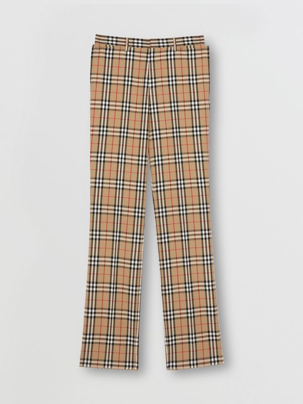 Vintage Check Wool Mohair Tailored Trousers in Archive Beige - Men | Burberry United Kingdom - cell image 3