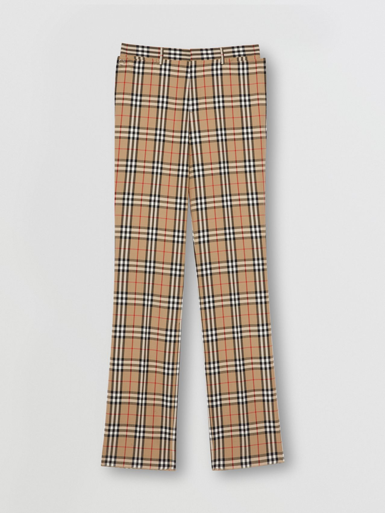 Vintage Check Wool Mohair Tailored Trousers in Archive Beige