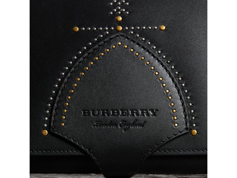 Riveted Leather A4 Document Case in Black | Burberry United States - cell image 1