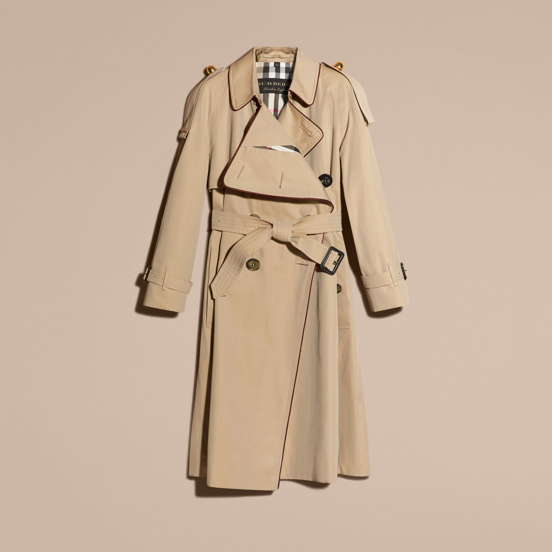 Honey Deconstructed Trench Coat with Regimental Piping - gallery image 4