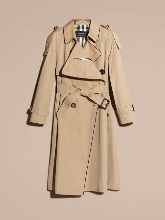 Honey Deconstructed Trench Coat with Regimental Piping - cell image 3