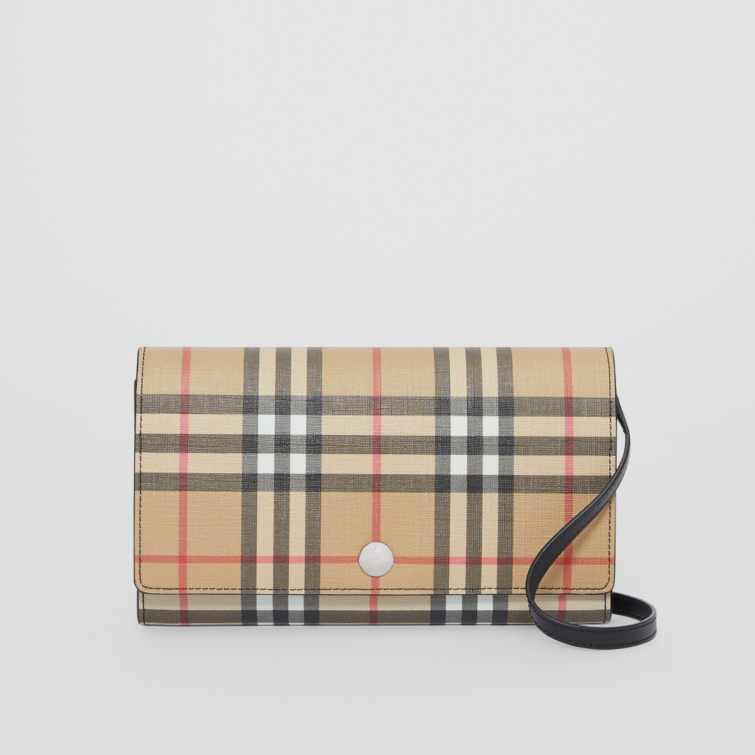 Vintage Check E-canvas Wallet with Detachable Strap in Black - Women | Burberry - 1