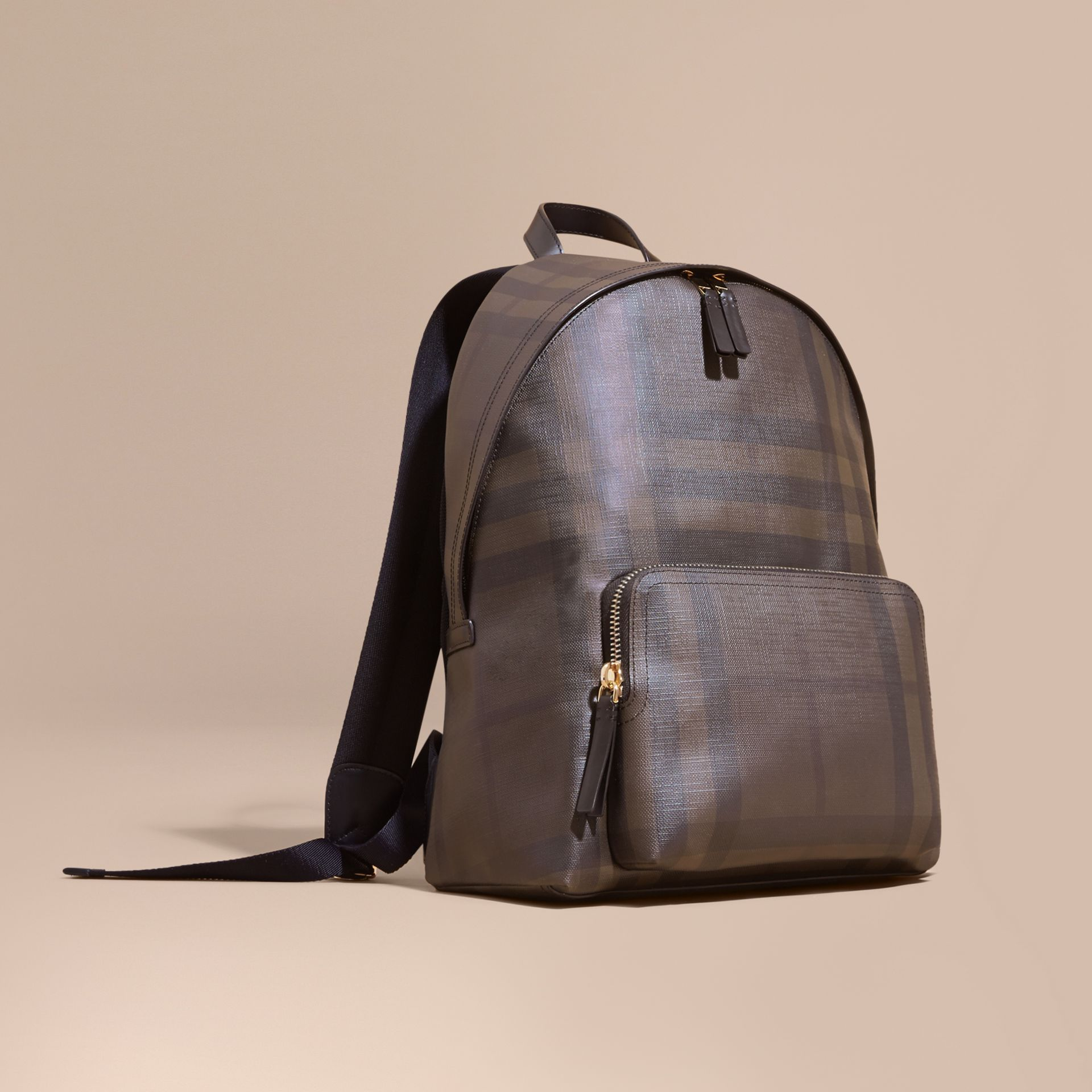 Chocolate/black Leather-trimmed London Check Backpack Chocolate/black - gallery image 1