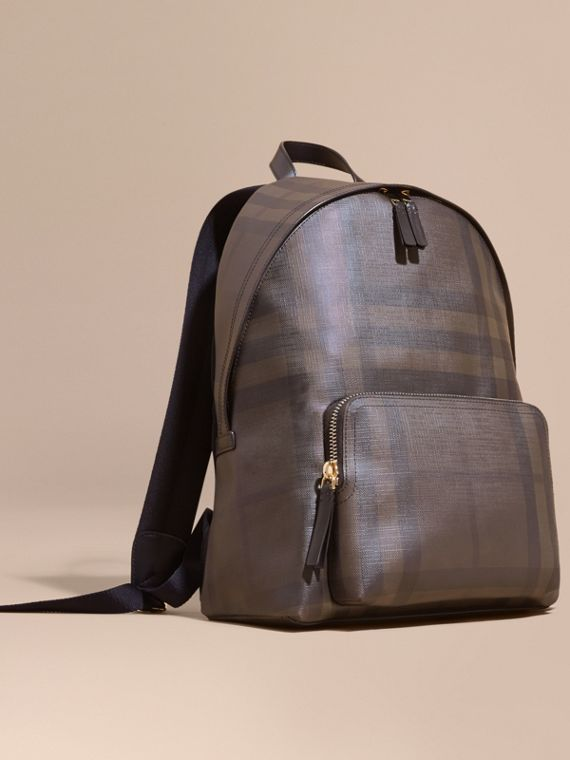 Leather Trim London Check Backpack Chocolate/black