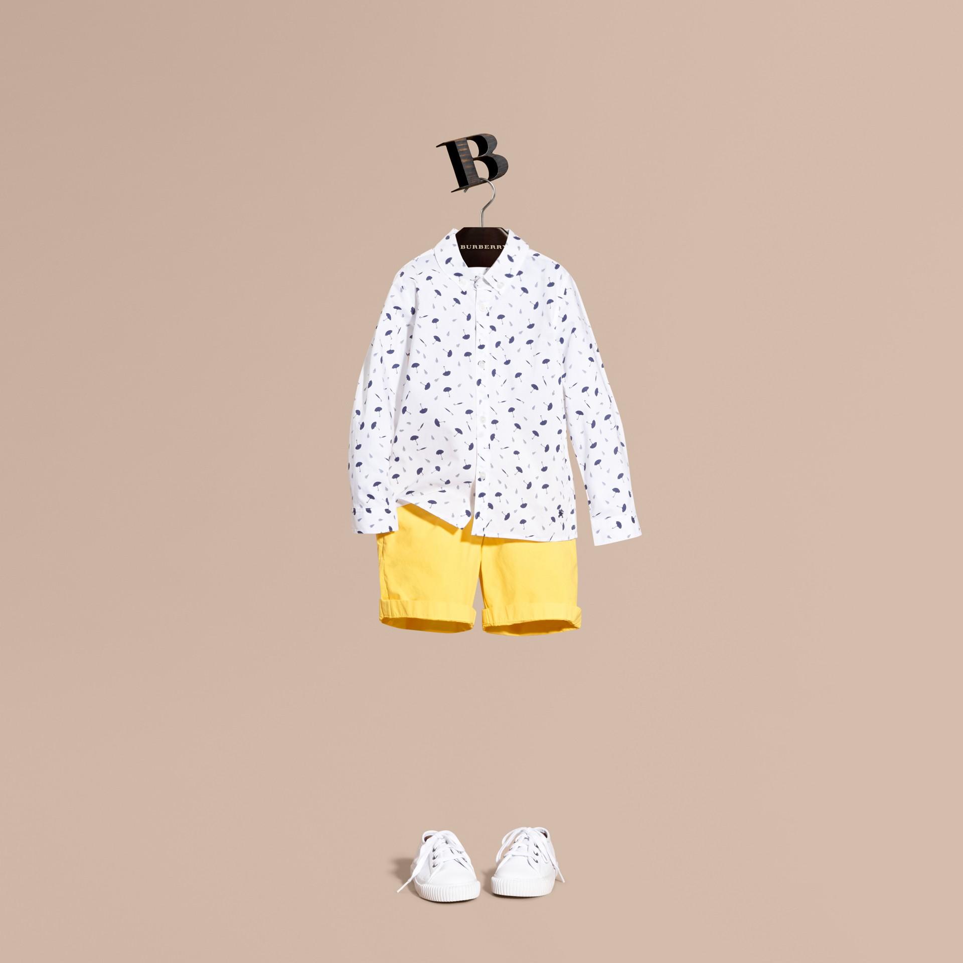 Umbrella Motif Cotton Button-down Collar Shirt - gallery image 1