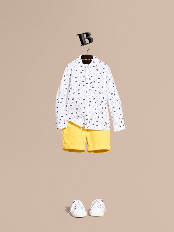 Umbrella Motif Cotton Button-down Collar Shirt