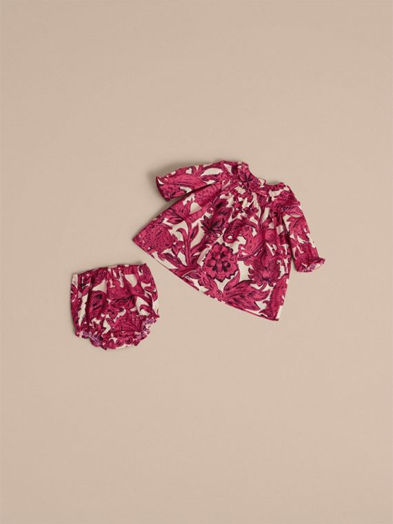 Beasts Print Cotton Smock Dress and Bloomers Set in Pink Azalea | Burberry - cell image 3
