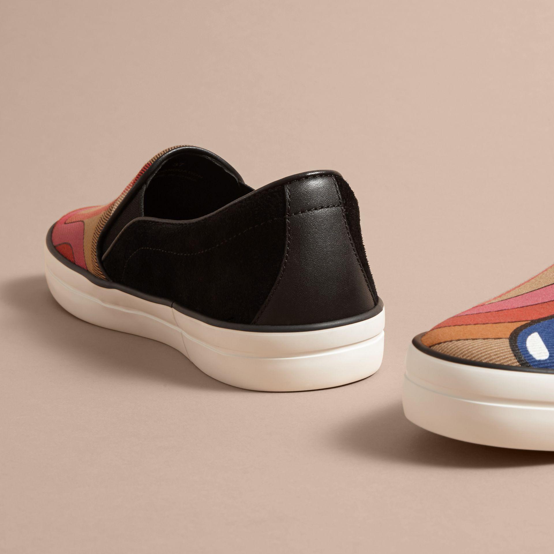 Rainbow Print House Check Cotton and Suede Slip-on Trainers - gallery image 4