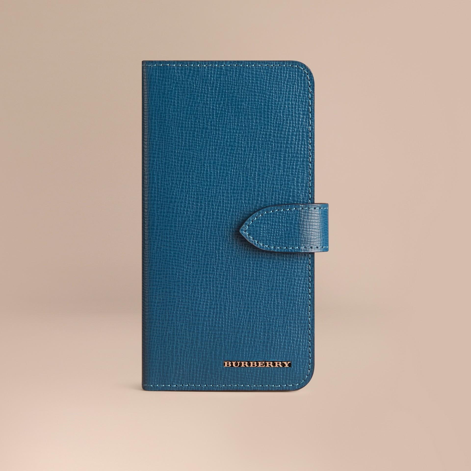 ミネラルブルー ロンドンレザーiPhone 6フリップケース ミネラルブルー - ギャラリーイメージ 1