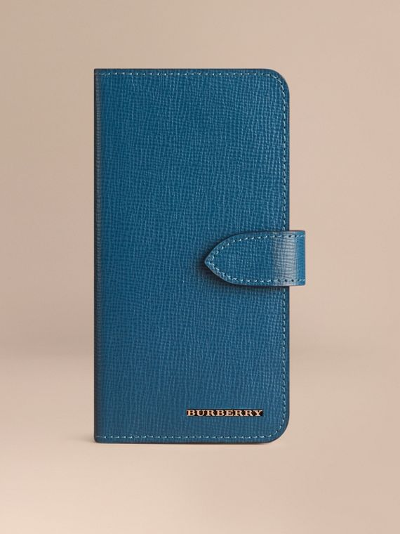 London Leather iPhone 6 Flip Case Mineral Blue