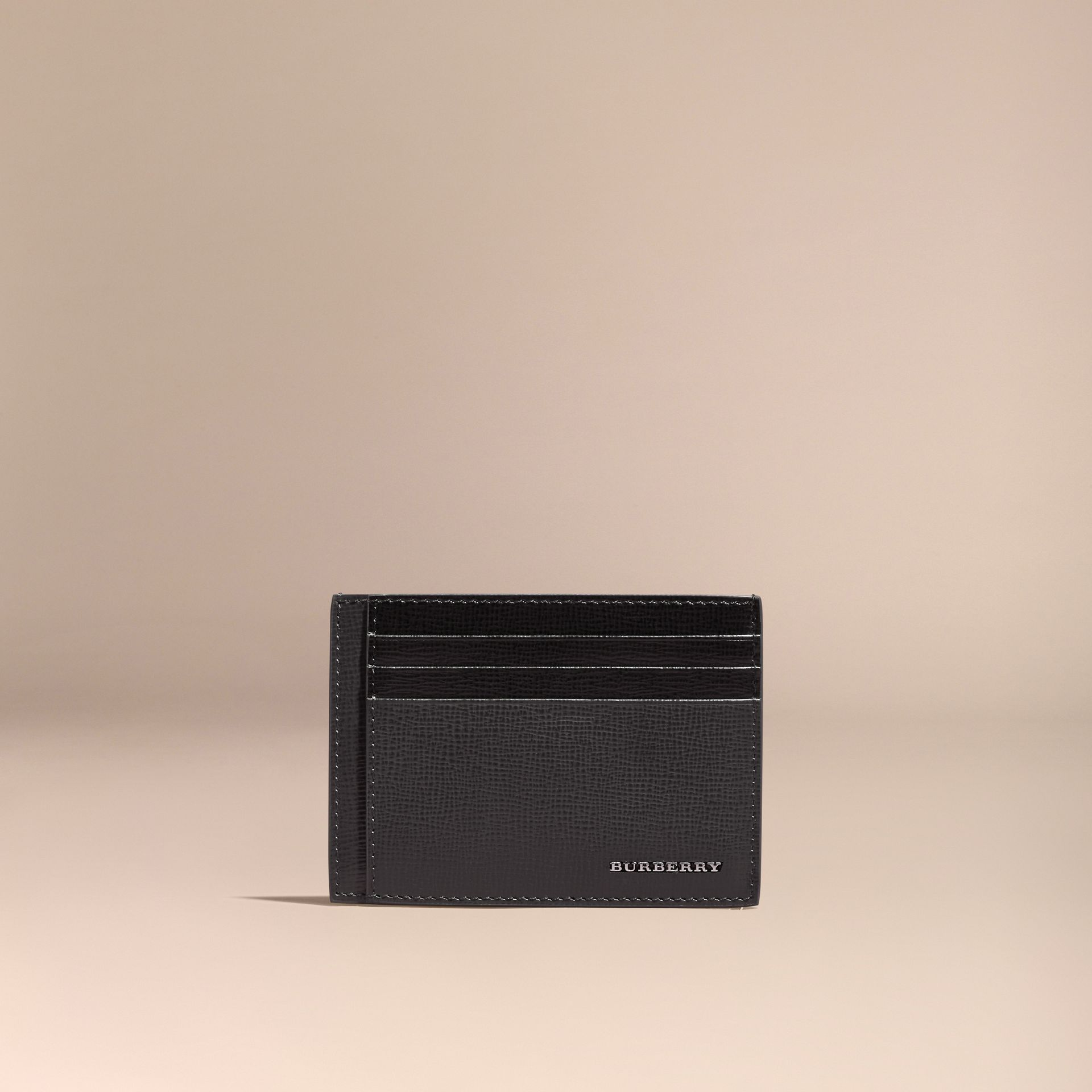 Charcoal/black Colour Block London Leather Card Case Charcoal/black - gallery image 6