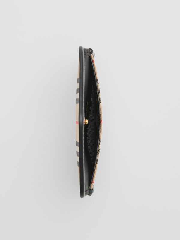 1983 Check and Leather Envelope Card Case in Black - Women | Burberry - cell image 3